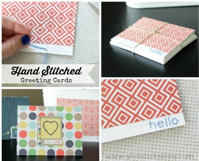 Hand Stitched Greeting/Note Cards www.gluesticksblog.com