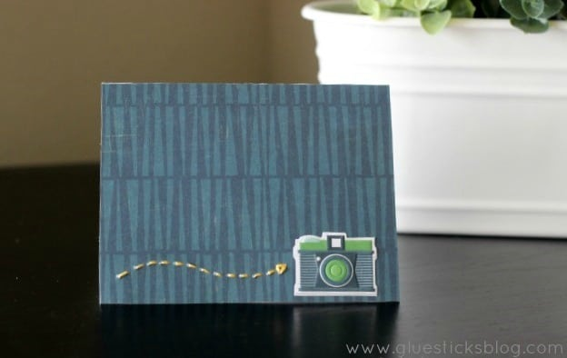 handstitched greeting card on table