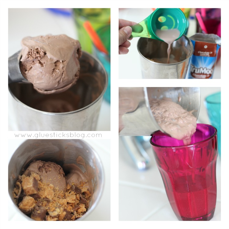 chocolate shakes in metal cups