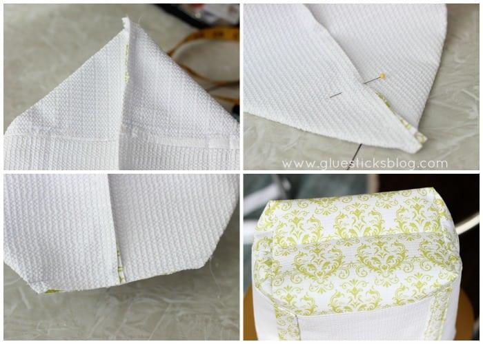 bottom corners of tote bag