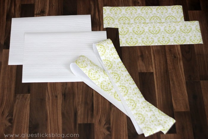 shelf liner cut into tote pieces