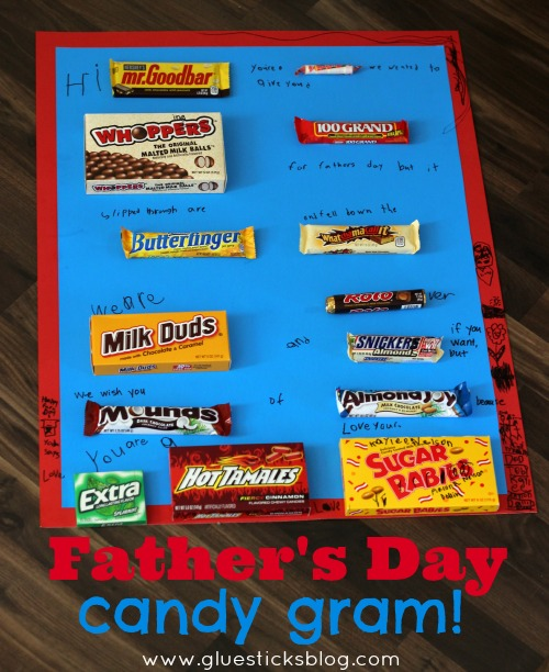 father's day candy gram on poster board