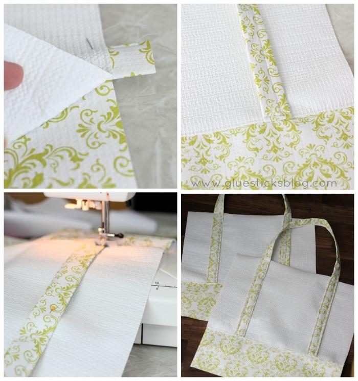 shelf liner sewn into tote bag