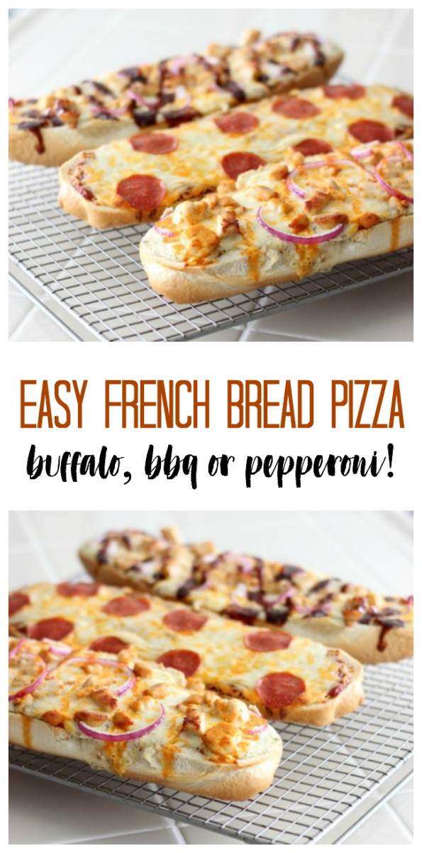 French bread pizza served with a green salad is a great weeknight dinner! Make pepperoni, buffalo chicken or BBQ chicken with our recipes!