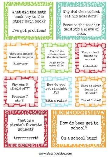 back to school printable lunch box planners  notes  u0026 jokes
