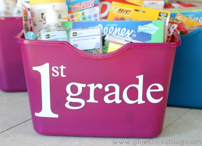 tote of school supplies for first grade