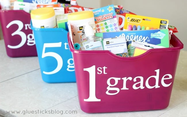 tote of school supplies for first and fifth grade