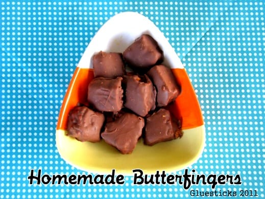 Homemade Butterfingers made out of candy corn