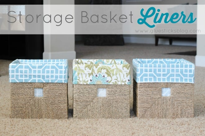 3 baskets with fabric liners