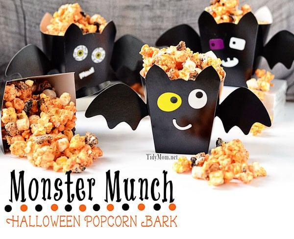 popcorn in bat treat cups for halloween classroom parties