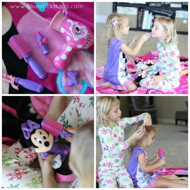 little girls brushing each other's hair