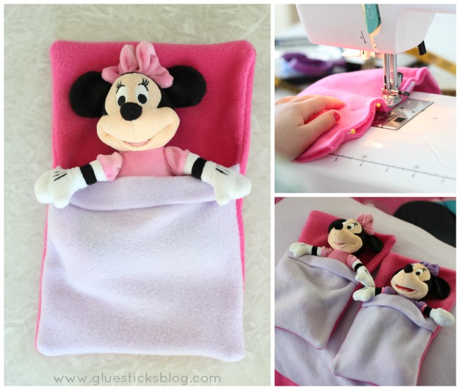 Minnie Mouse stuffed animal in small toys sleeping bag