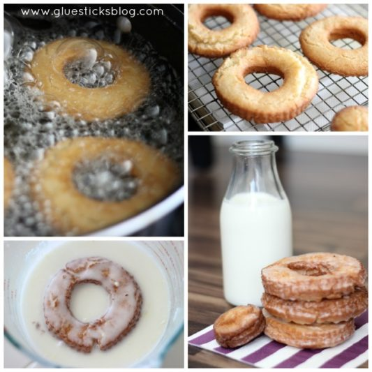 sour cream donuts in glaze and being fried