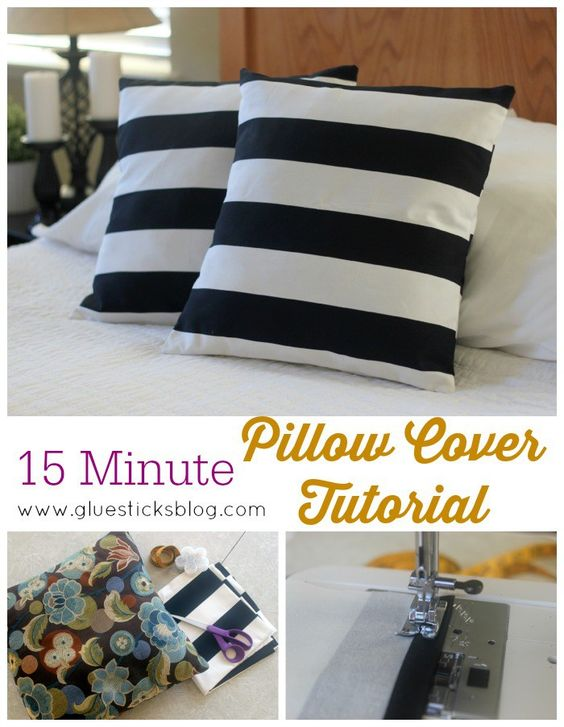 black and white striped pillows on bed