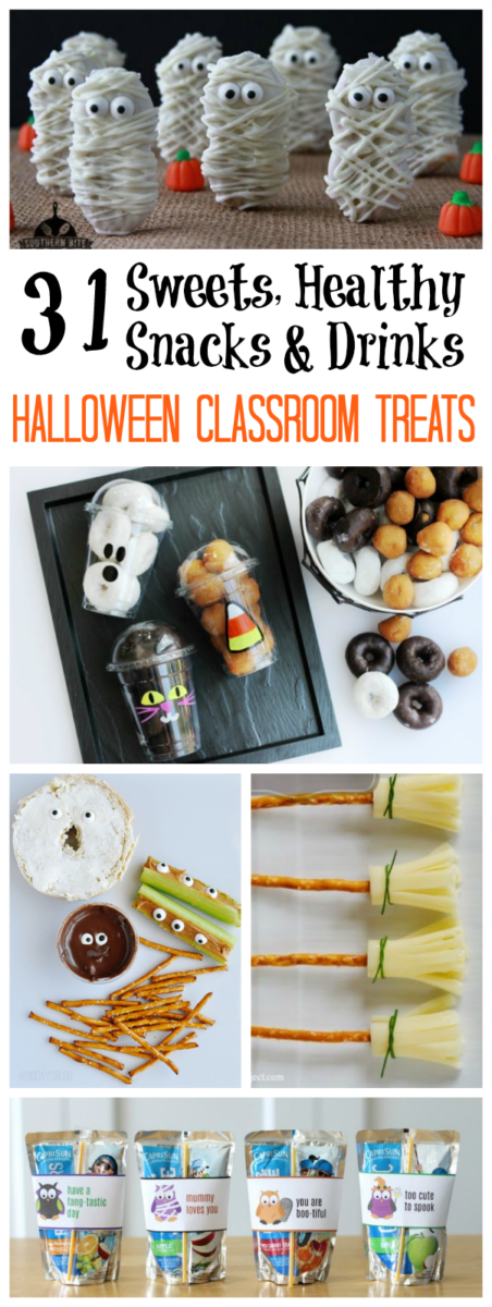 A collection of EASY Halloween classroom treats. Sweet treats, healthy treats, and drink ideas. Simple prep, easy to make in batches, and TONS of fun!