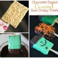 Chocolate Dipped Caramel Rice Crispy Treats
