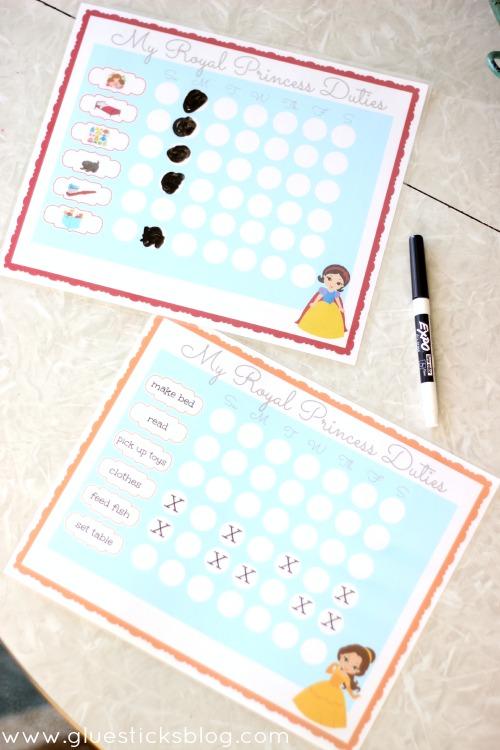 two princess chore charts
