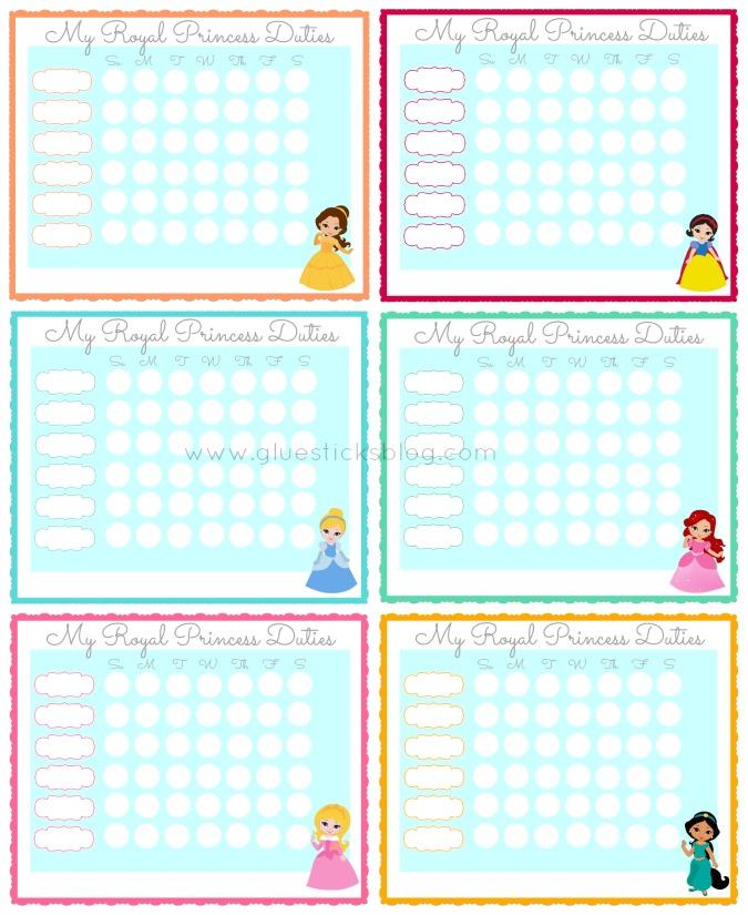 6 princess chore charts