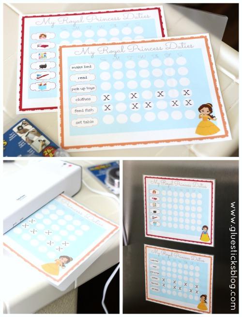 laminated princess chore charts