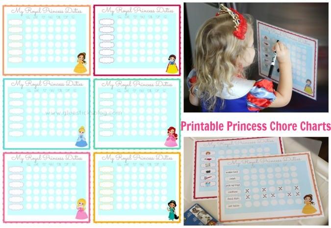 variety of princess chore charts
