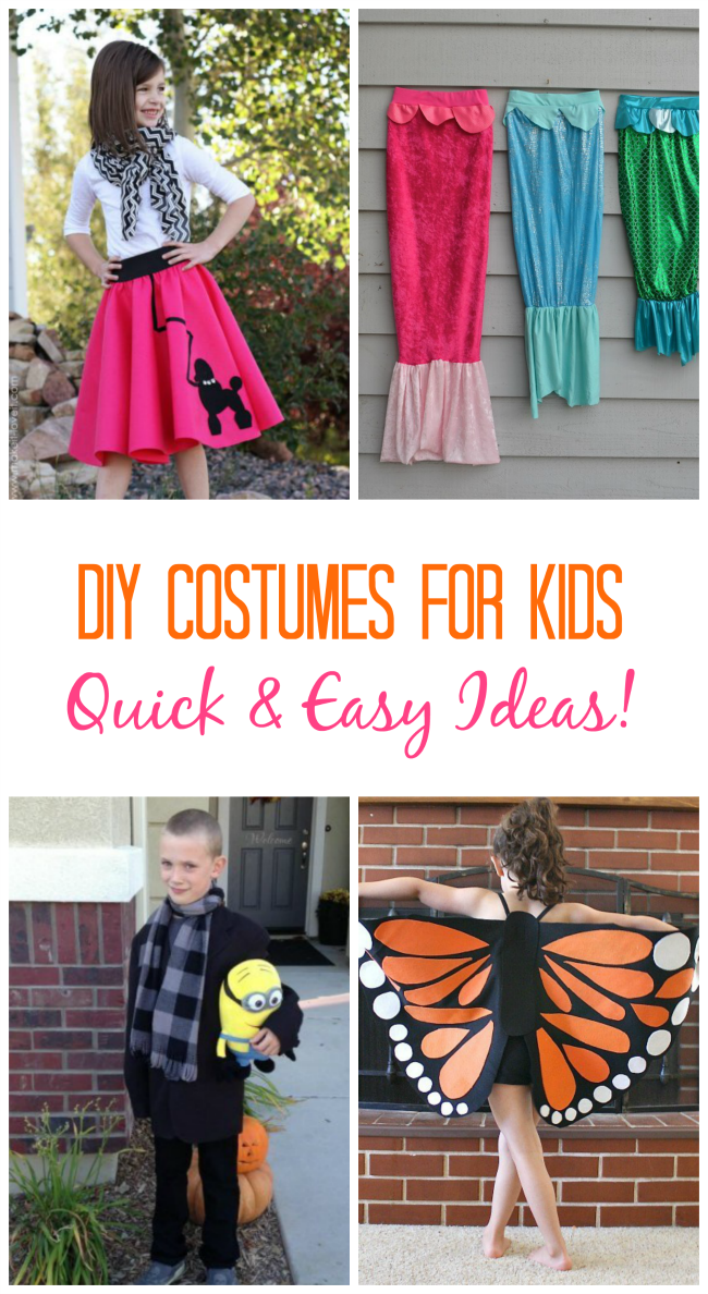 A collection of simple diy costumes for kids. Easy ideas to add to a dress up box for imaginative play or Halloween!