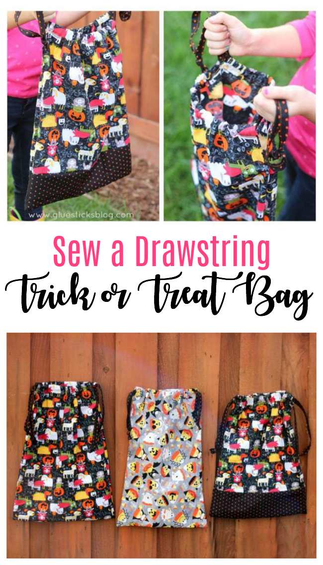 Bigger than a plastic pumpkin, smaller than a pillowcase, and the top cinches closed. The perfect trick or treat bag for Halloween night!