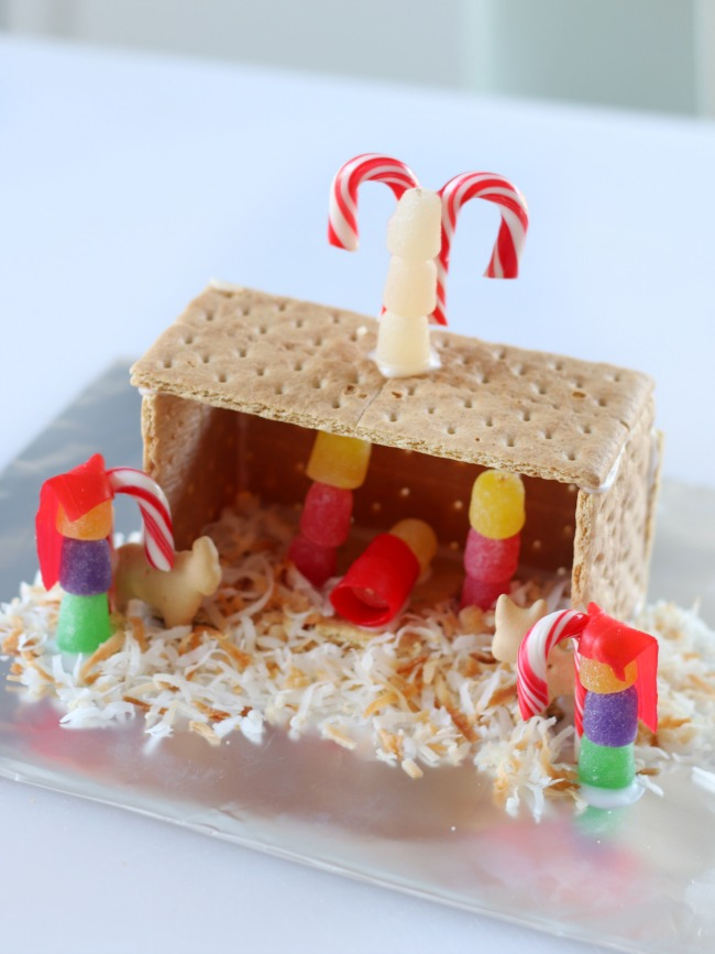 graham cracker nativity with gumdrops and toasted coconut details