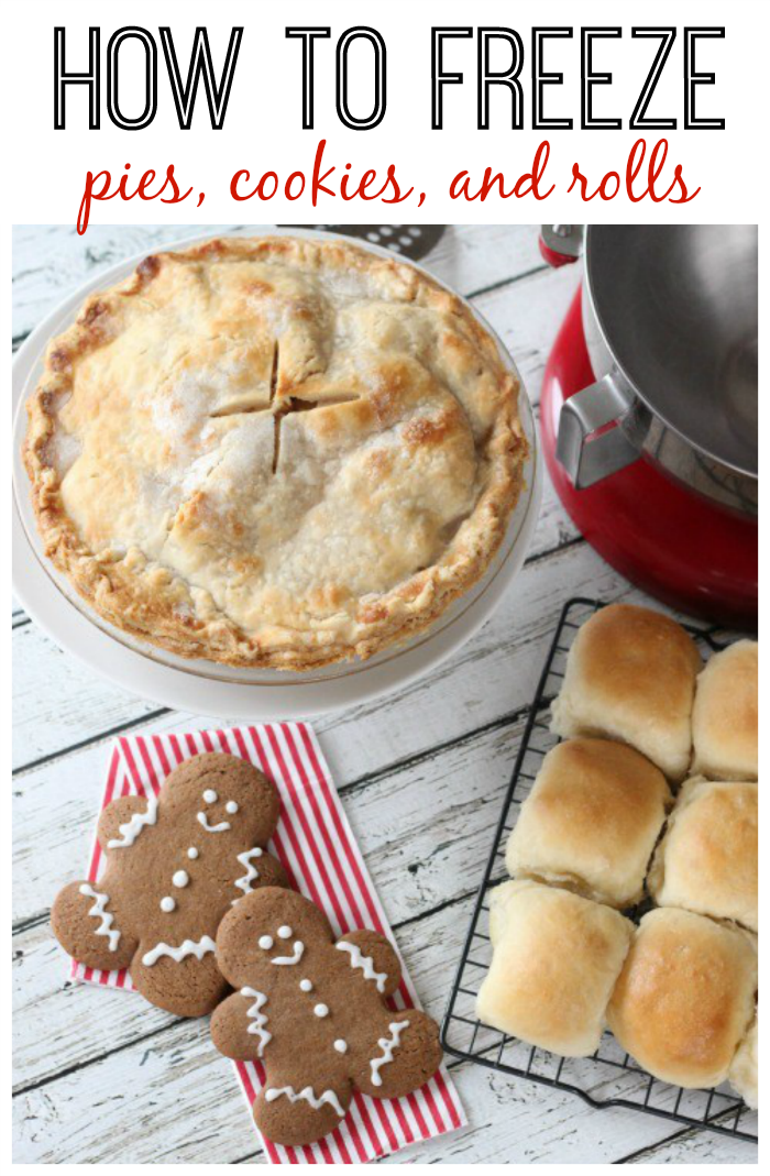 Tips and tricks for making and freezing baked goods. How to freeze pies, cookies and rolls. This especially comes in handy during the holidays! Bake a variety of treats in one day and freeze for parties and family dinners!