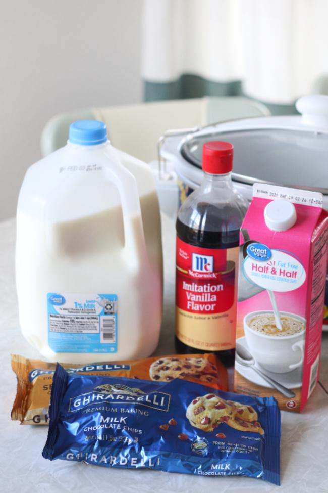 milk chocolate chips half and half and vanilla