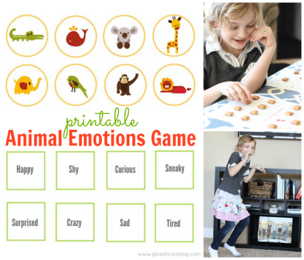 Printable Animal Emotions Game
