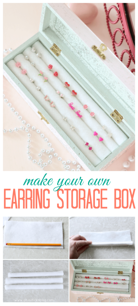 Would you believe it if I told you this DIY earring storage box was made from pencils and felt? Crazy I know but read on to see how to make this darling earring storage box for under $5.