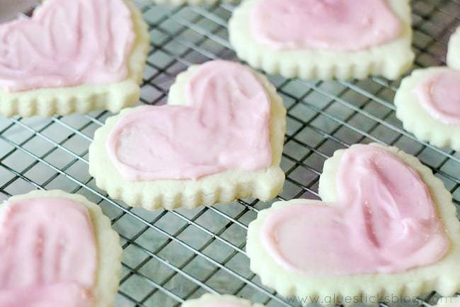 frosted heart shaped sugar cookies