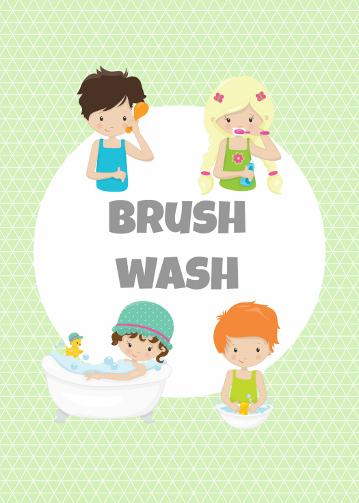 kids bathroom printable (green)
