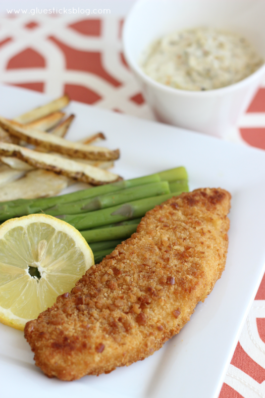 Pretzel Crusted Tilapia with Seafood Dipping Sauce
