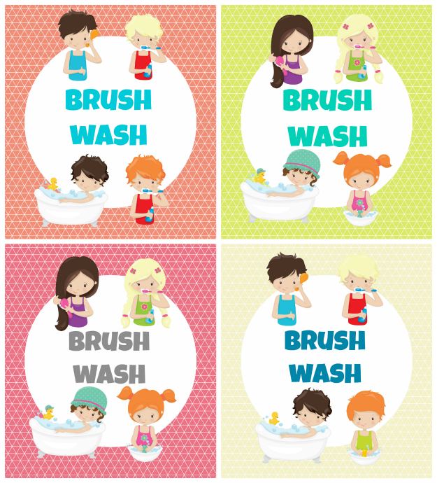 kids bathroom printables collage