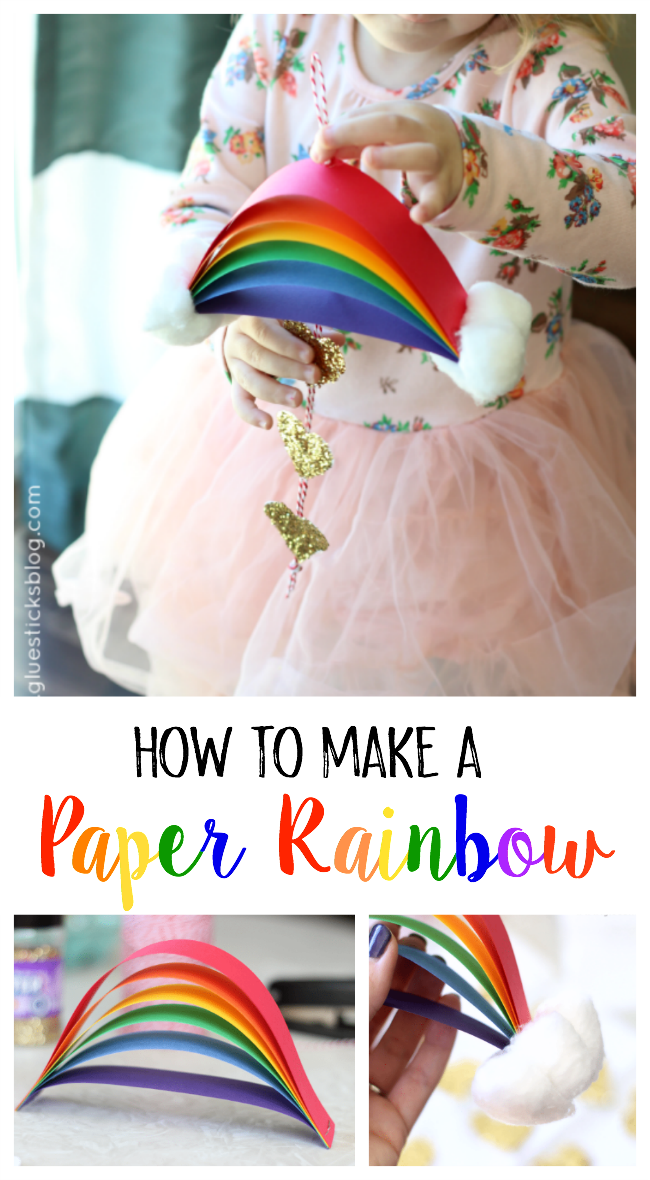 A bright, colorful, and glittery St. Patrick's Day rainbow craft for kids! Use craft paper in a rainbow of colors to make this quick and easy rainbow. Then add cotton balls for the clouds!