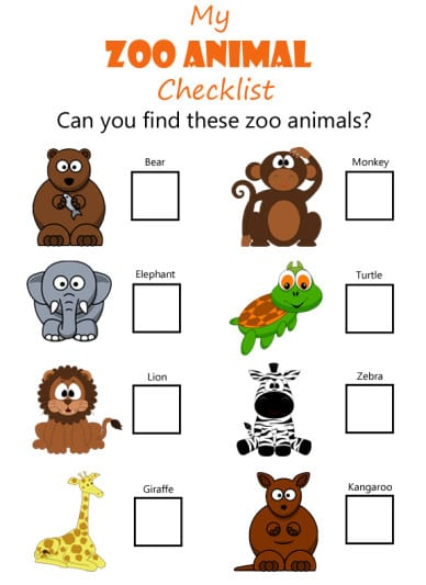 preschool zoo activities printable scavenger hunt