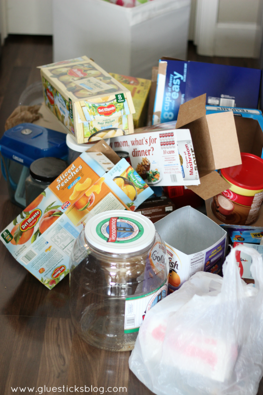 pile of boxes from pantry to be recycled