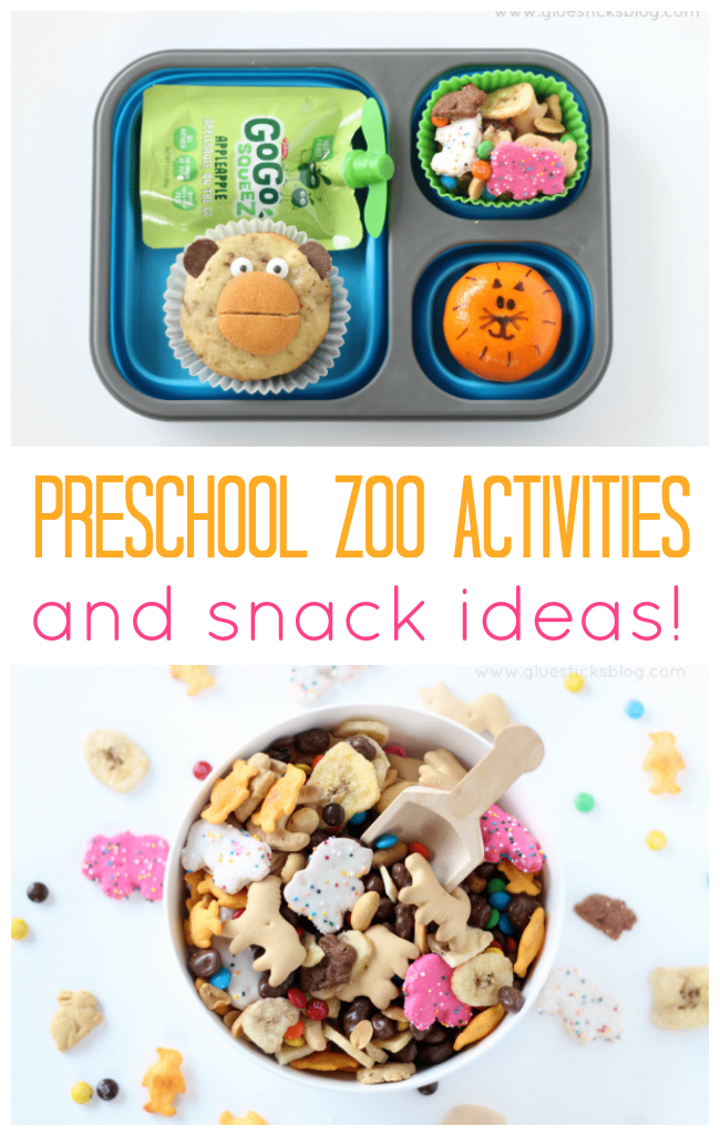 "Heading to the zoo with the under 5 crowd? Here are some fun preschool zoo activities and snacks! A fun ""At the Zoo"" picture scavenger hunt, snack ideas, tips for packing a cute and easy lunch and more!"