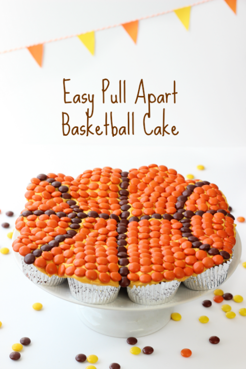 An Easy Basketball Pull Apart Cake Made from Cupcakes and Reese's Pieces.