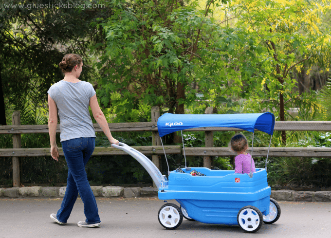 mom pulling daughter in wagon at the zoo