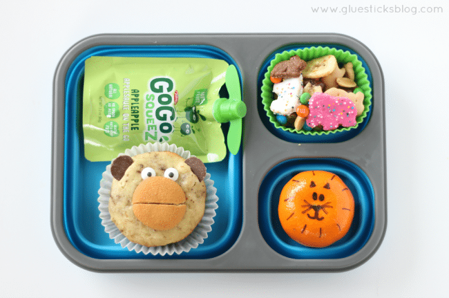 preschool zoo activities lunch: monkey muffin, tiger tangerine, snack mix