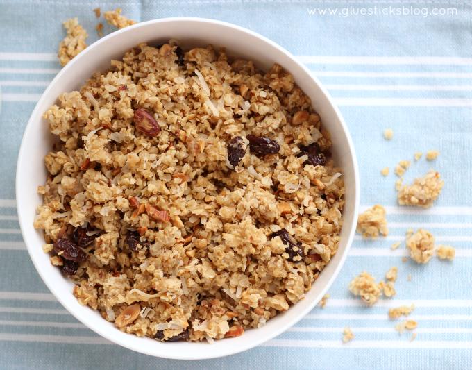 granola inside cereal bowl