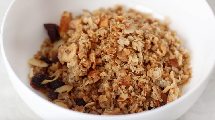 granola in cereal bowl
