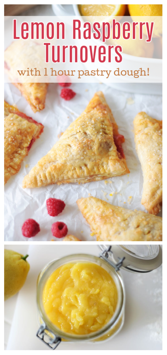 jar of lemon curd and raspberry turnovers on parchment paper