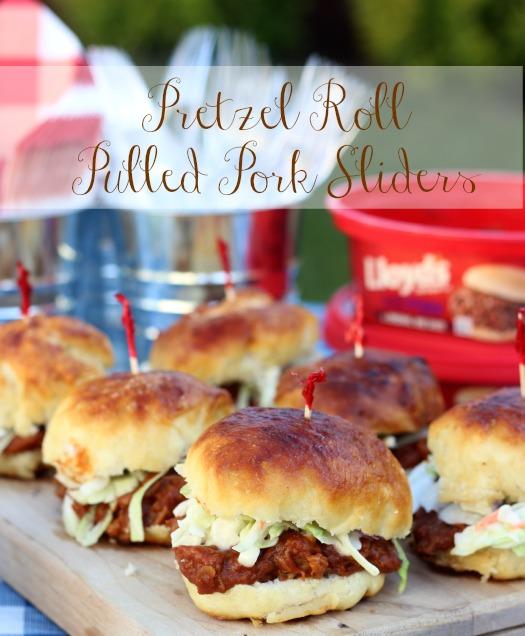 pulled pork sliders on homemade pretzel roll buns