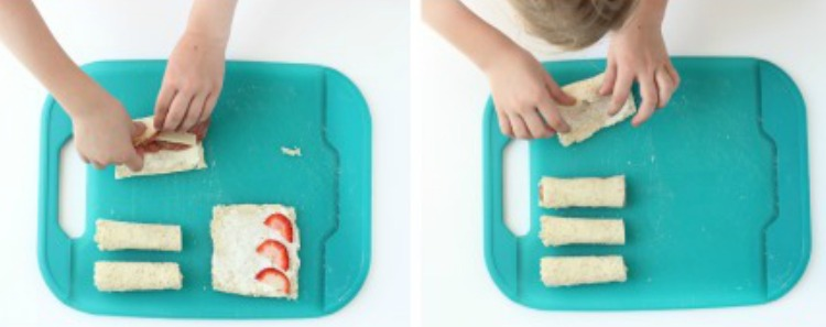 """Sushi"" sandwich rolls ups are a quick and easy recipe for kids! A great intro to cutting skills and flavor combinations."