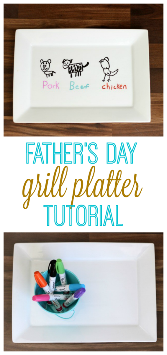 Create a personalized gift with oil based Sharpie pens! Decorate porcelain platters, bowls, or mugs for a one of a kind gift this year! We made a Father's Day grill platter and baked it in the oven to set the paint. Make sure to hand wash it to make it last!