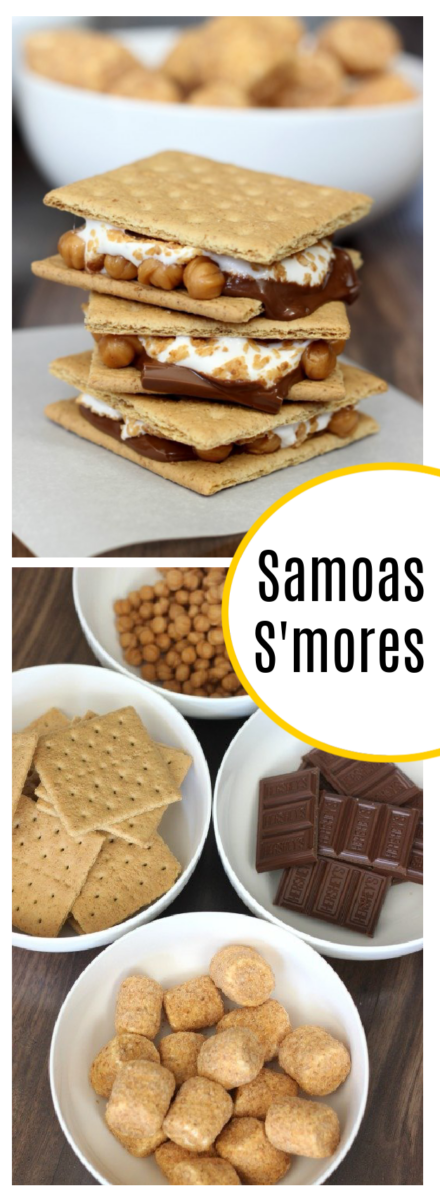 samoas s'mores and bowls of s'mores ingredients