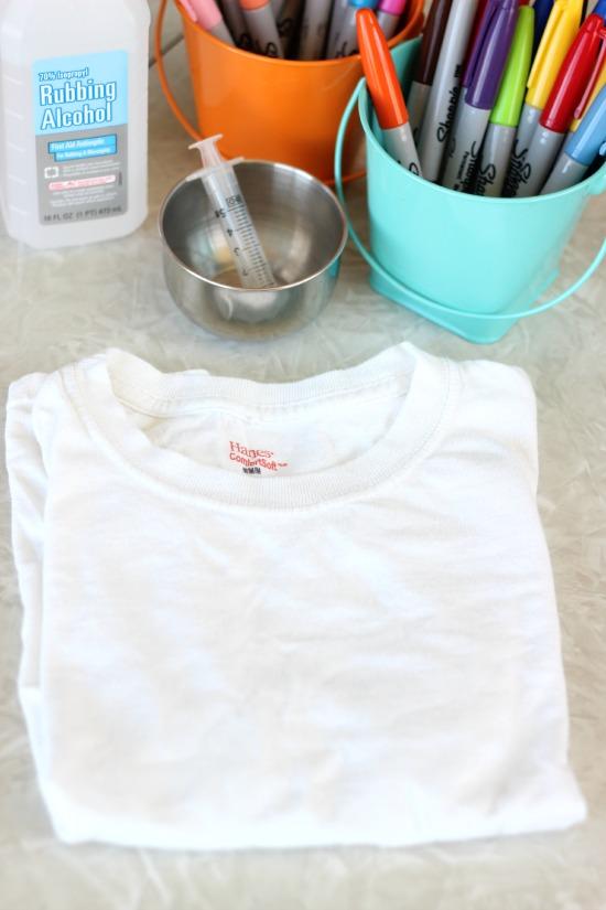 blank t shirt for sharpie tie dye
